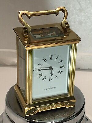 "Antique ""MAPPIN & WEBB"" Solid Brass Mech Move Carriage Clock In Working Order"