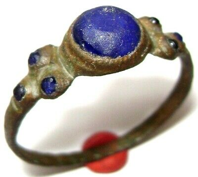 Ancient medieval BRONZE FINGER RING with seven blue stones (gem, glass)
