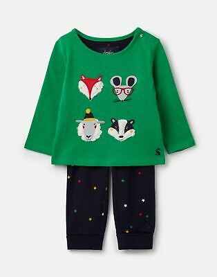 Joules Baby Byron Applique Top And Trouser Set in GREEN FACES Size 18min24m