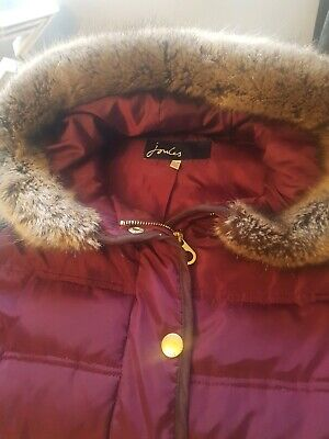 Joules Padded Gilet With Fur Hood Trim oxblood colour size 16