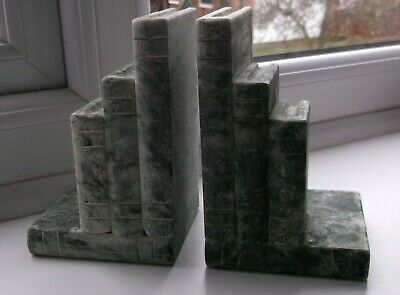 Antique Art Deco Italian Green Alabaster Bookends Shaped as Books 20's/30's