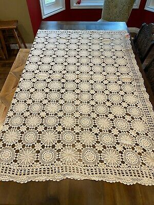 Vintage IVORY CROCHETED LACE TABLECLOTH~Off White Table Cover~NEW Handmade