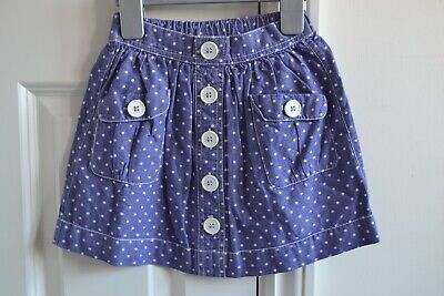 Lovely Mini Boden Girls Blue/White Spotted Chambray Cotton Skirt 3-4Y EUC