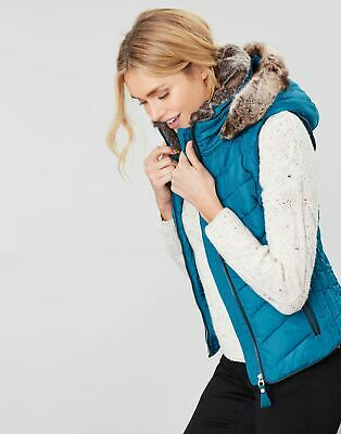 Joules Womens Maybury Chevron Gilet With Hood in DARK TEAL Size 16