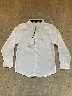 Boys White Burberry Shirt Age 6 Years New With Tags
