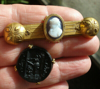Antique Victorian Carved Hard Stone Agate GF Bar Brooch & Glass Round Pin Lot