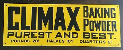 """Old Vtg Climax Baking Powder Purest Best 14"""" X 5"""" Metal Desperate Sign Co Yellow"""
