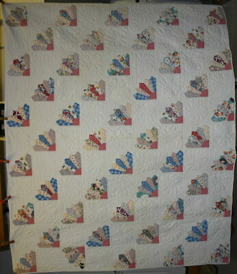 "Antique ""Fans"" Quilt, Well Quilted, Conversation Prints, Mid Century, #18694"