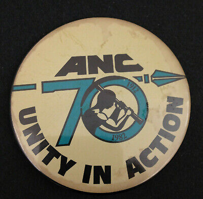 ANC Unity In Action 70 Pin African National Congress 1982 Pinback 5.5cm Button