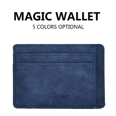 Slim Wallet Magic Credit Card Holder Coin Bag Money Clip Billfold Faux Leather~