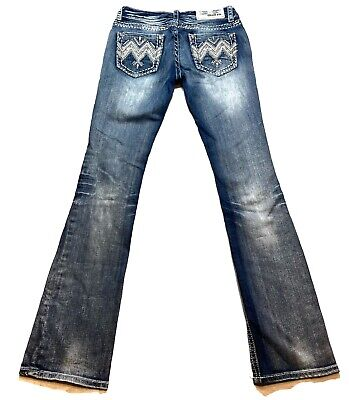 Grace In LA Denim Dark Blue Jeans Jeweled Cross Pocket Junior Skinny Fit K8327N