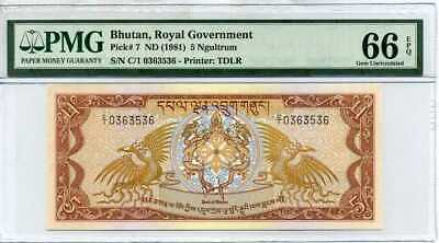Bhutan 5 Ngultrum Nd 1981 P 7 Gem Unc Pmg 66 Epq High