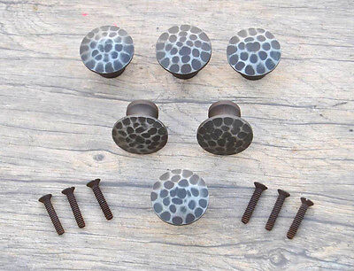 Vintage victorian fancy cast iron door cabinet drawer knobs handles rustic 6pcs