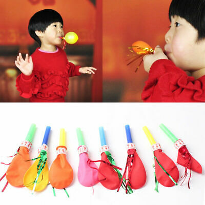 50//100pcs Latex Ribbon Whistle Balloon Kids Toy Horn Baby Birthday Party Supply