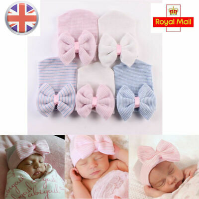 UK Baby Infant Striped Soft Hats with Bow Hospital Newborn Beanie Bowknot Cap
