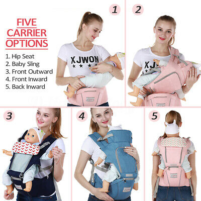 Ergonomic Infant Baby Carrier Adjustable Wrap Sling Newborn Backpack W/ Hip Seat