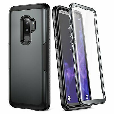 Galaxy S9+ Plus Case, YOUMAKER Metallic Black with Built-in Screen Protector