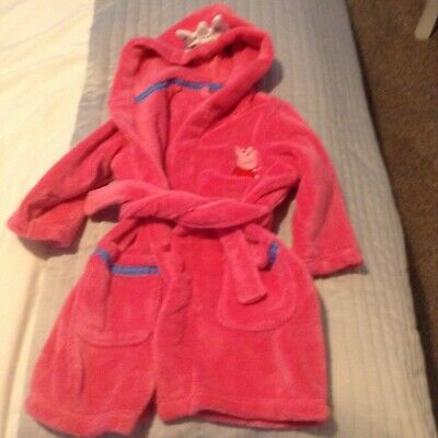 Girls, Peppa Pig dressing gown, M & S, 18-24 months, pink with crown hood