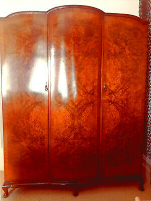 Art Deco Burr Walnut Triple 3 Door Antique Linen Wardrobe Armoire 1920s/1930s