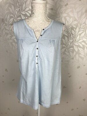White Stuff Size 12 Pale Light Blue Sleeveless Embroided Vest Top