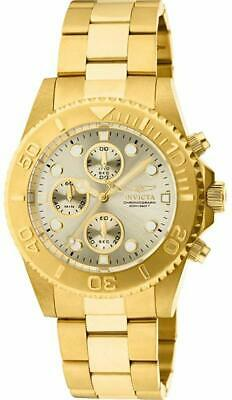 NEW Invicta Mens 18K GOLD Plated Stainless Steel Swiss Chronograph Diver Watch