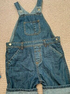 Boys MOTHERCARE Denim Boys Short Dungarees Age 4-5 Years DETAILED Summer Jean