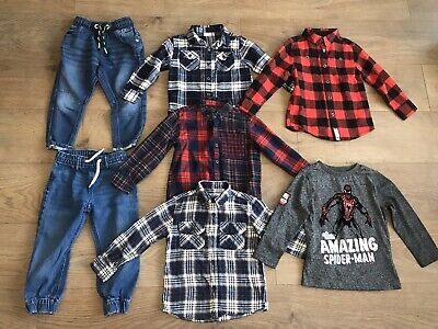 Boys bundle 2-3 years pull on jeans checked shirts spiderman F333