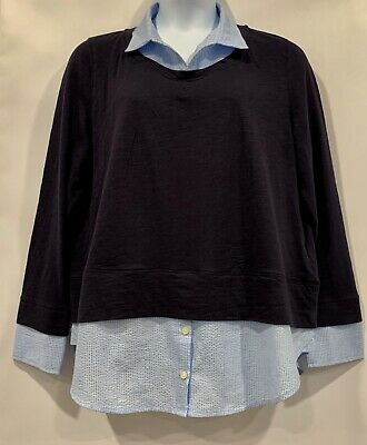 Women's Tommy Hilfiger 2-Fer Layered Sweater & Blouse Midnight Blue Heather XXL