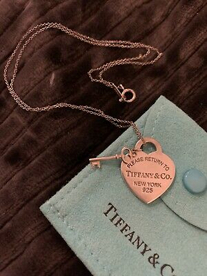 Return To Tiffany & Co Small Heart Tag With Key Necklace Pendant Charm Silver