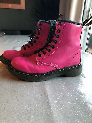 Girls Dr Martens Air Wair Delaney Leather Boots Size 11K Euro 29. Pink