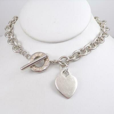 """Tiffany & Co Sterling Silver Rolo Chain Heart Charm Necklace 16"""" 10mm LFL3"""