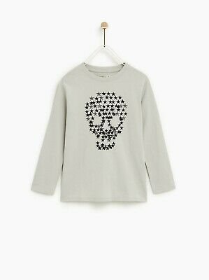 BNWT Zara Kids Soft Stretch Cotton Stars Skull Long Sleeve Top Age 10 years