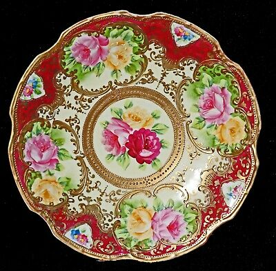 Royal Nippon Hand Painted Pink Yellow Roses Gold Cabinet Plate Moriage Japan