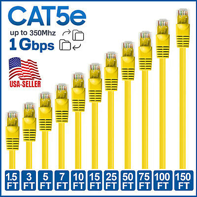 CAT5e Ethernet Cable Lan Router Network CAT5 RJ45 Internet Yellow Patch Cord LOT
