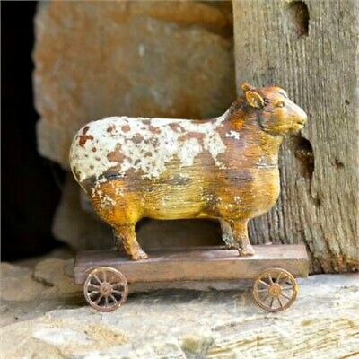 **Primitive`Country`Farmhouse``Sheep` Fiqurine` Pull Toy` Wheels Turn