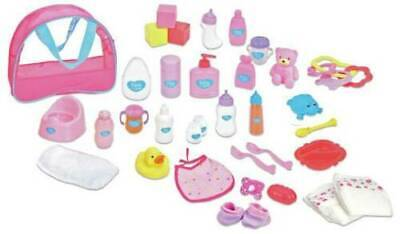 Chad Valley Baby Doll Changing Bag 34 Pcs Feeding Accessory,nappies,bottle,dummy