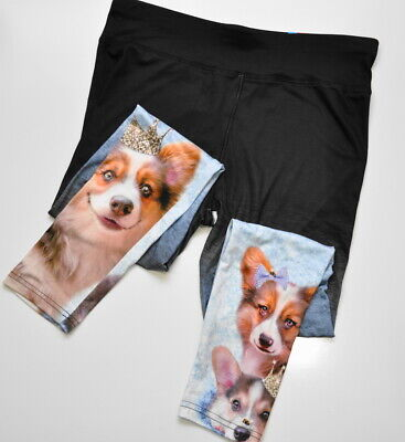 Justice Size 24 Plus Girls Leggings Full Length Dogs with Crowns Print New