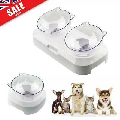 Non-slip Cat Double Bowls Stand Pet Food Water Bowl Cat Dog Feeder Adjustable UK