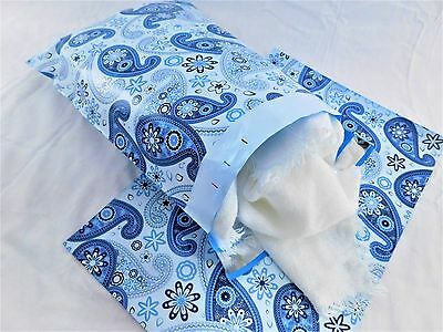 100 10x13 Blue Paisley Designer Mailers Poly Shipping Envelopes Boutique Bags