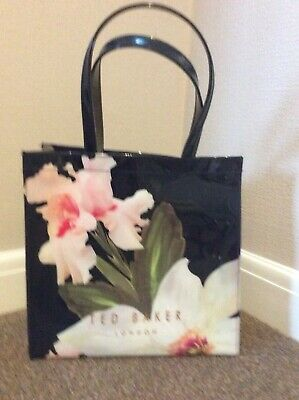 Ted Baker Bag Large Tote Navy Shimmer And Gold Pink Iris Flower
