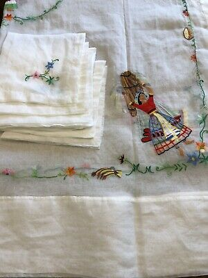 """Vintage Organdy Embroidered Tablecloth & 8 Napkins Mexican Floral Motif 88""""X56"""""""