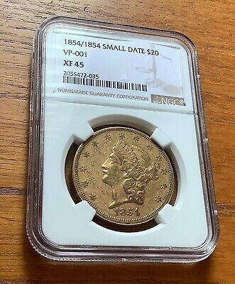 1854/1854 Small Date $20 Gold Liberty Head Double Eagle