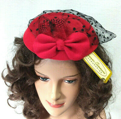 Red Black Facinator Hat Duchess Triple Crown Off to the Races Style One Size