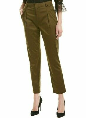 $275 NWT ALICE + OLIVIA Sz0 GRADY PLEATED HI-RISE WIDE-LEG STRETCH PANT ARMY