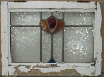 "OLD ENGLISH LEADED STAINED GLASS WINDOW Gorgeous Abstract Floral 22.25"" x 16.5"""