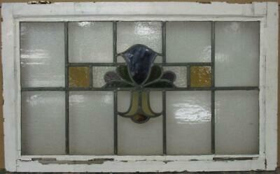 "OLD ENGLISH LEAD STAINED GLASS WINDOW TRANSOM Gorgeous Abstract 31.25"" x 19.25"""