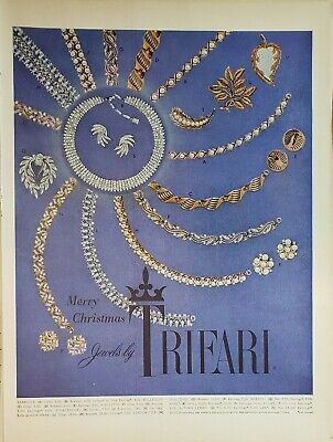 Lot 3 Vintage Trifari Jewelry Print Ads Christmas Booty Gives to his Wife too