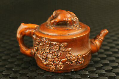 unique Chinese old boxwood hand flower statue tea pot form decorate collectable