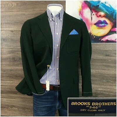Vtg Brooks Brothers Blazer Sport Coat 3 Two Roll Wool Jacket Gold Button New