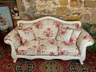 Stunning Vintage French Provincial 3 Seater Sofa~Lounge Chair-Hamptons~Flowers